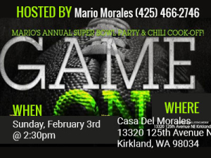 Mario's 20th Annual Super Bowl Party and Chili Cook Off