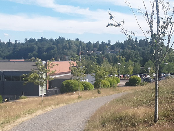 Mercer Island and COmmunity and Events Center Parking Lot - Backside from trail