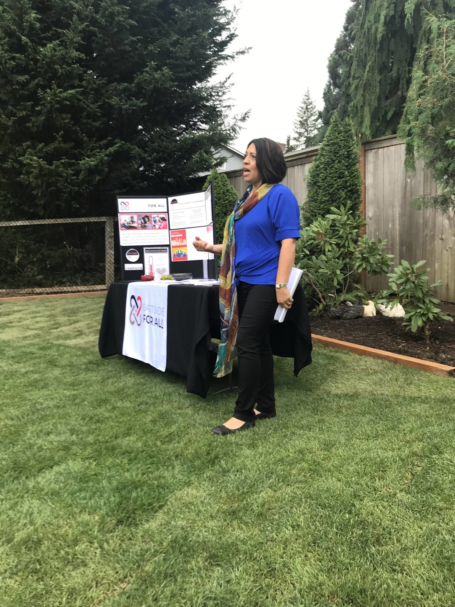 Debbie Lacy speaks at Introducing Eastisde for All Summer Social in Bellevue on September 7, 2019