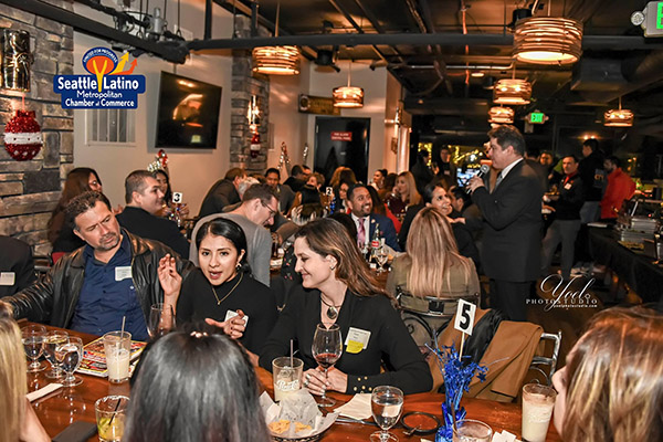 2019 Speed Networking Holiday Fiesta attendees at La Palmera Restaurant in Seattle on 12/9/2019.